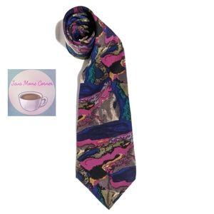 J. Garcia Capillaries Purple Blue 100% Silk Tie